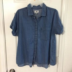 Denim look button up shirt L